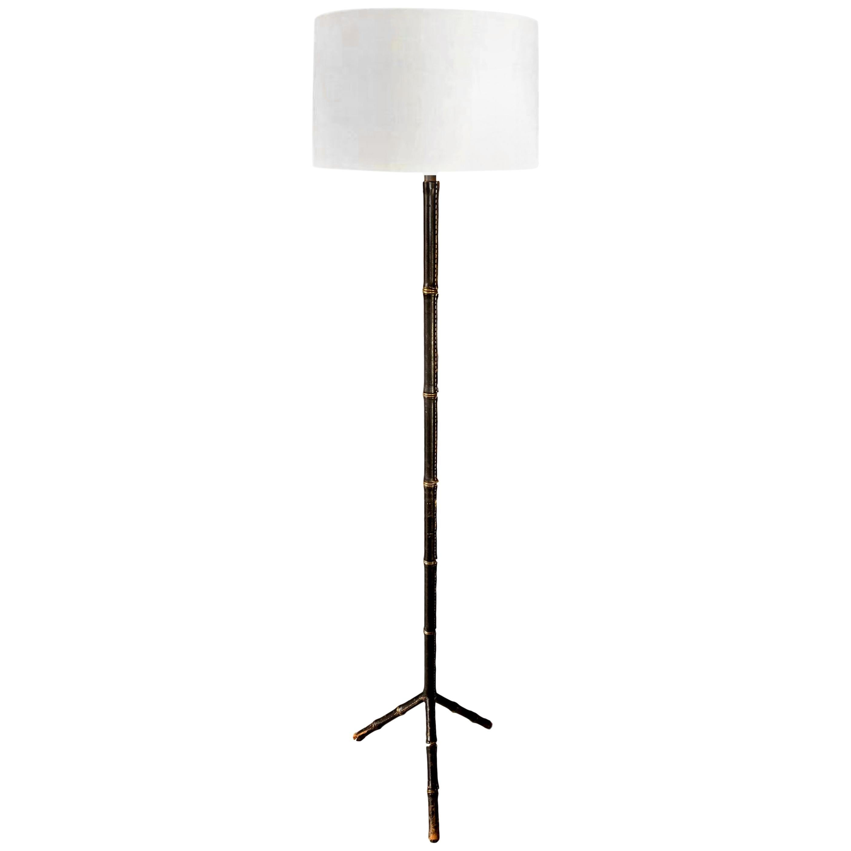 Jacques Adnet Black Leather Floor Lamp