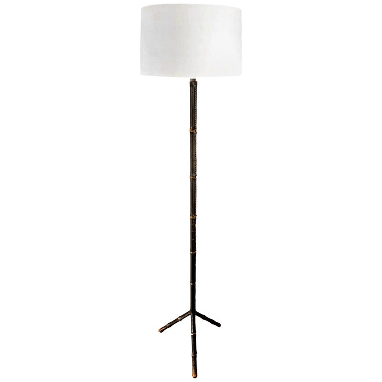Jacques Adnet Black Leather Floor Lamp For Sale