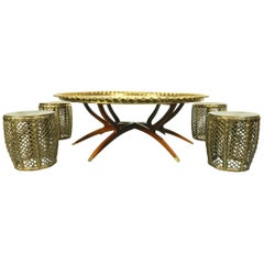 Moorish Moroccan Hookah Lounge Tooled Brass Tray Coffee Table and 4 Stools