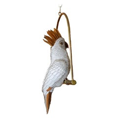 Signed FEDERICO white Hand-Crafted Leather Cockatoo On Brass Swing, Mexico
