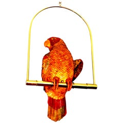 Signed Federico Leather Parrot Perched on a Swing
