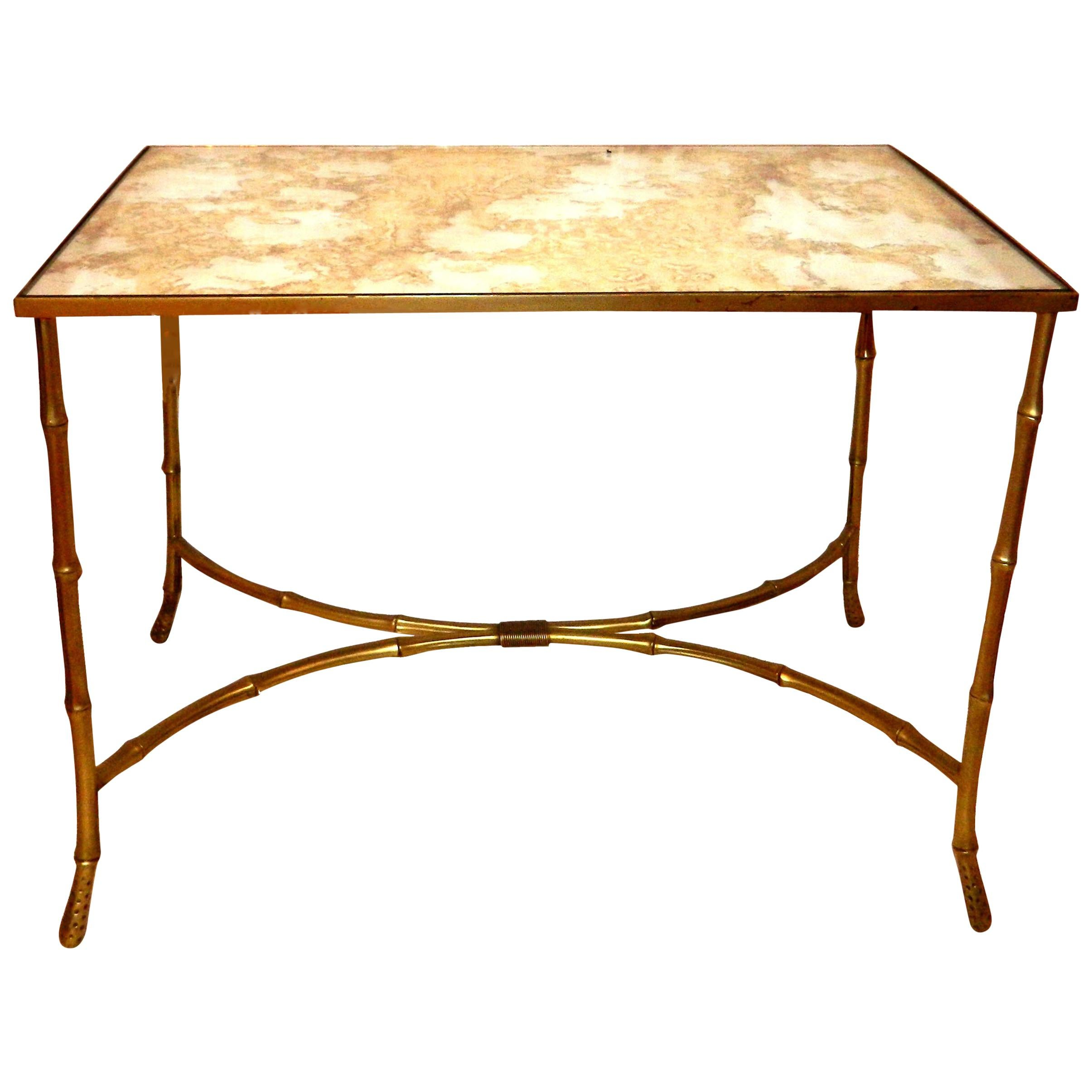 Maison Baguès French Neoclassical Bronze & Antique Glass Coffee Table 1950s