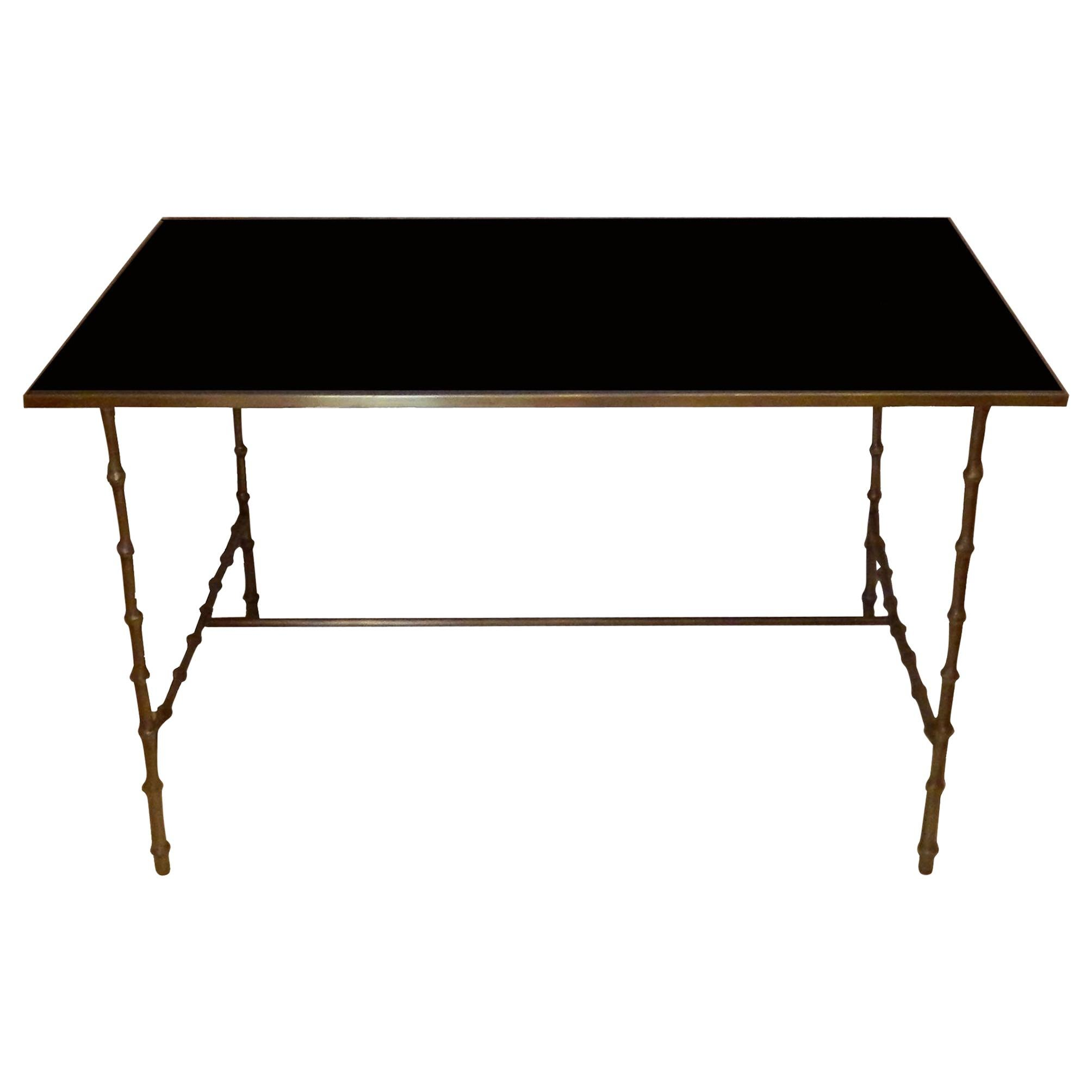 Maison Bagues French Neoclassical Coffee Table Brass & Black Opaline Glass Top