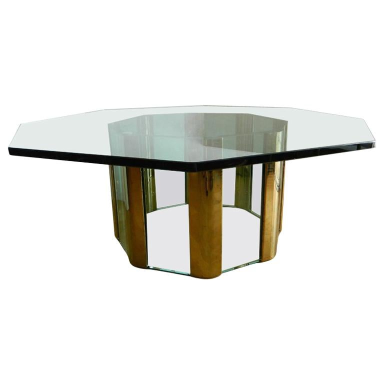 Pace Octagonal Brass & Glass Coffee Table with Glass Top For Sale