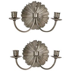 Signed Charles Pair of Silvered Bronze Sconces 2 Pairs Available, Priced by Pair