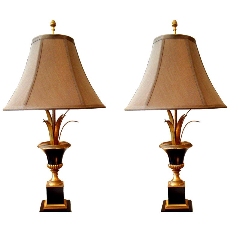 Pair of Maison Charles Neoclassical Brass Table Lamps
