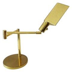 Koch & Lowy Mid-Century Modern Brass Adjustable Swing-arm Table Lamp