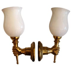 Andre Arbus Style Brass Hand Sconces 1950s, Priced by Pair, 4 pairs Available
