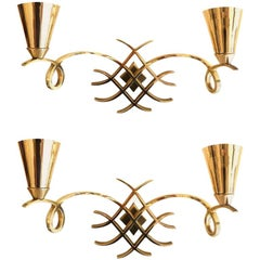 Jules Leleu French Neoclassical Wall Sconces, Wall Lights - Pair