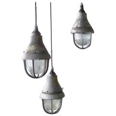 1930s Crouse Hinds Caged 'Explosion Proof' Industrial Pendants