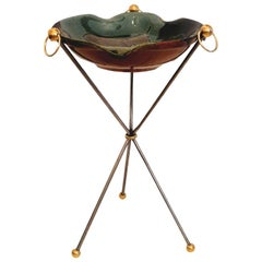 Maison Jansen French Iron & Brass Tripod Table Vallauris Ceramic Top, Signed