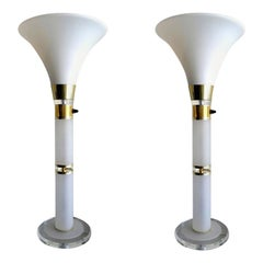 Pair of Mid-Century Modern Opaline Glass and Lucite Table Lamps