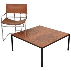 Midcentury Square Coffee Table in wood and Iron Italy 1960s Italia Design