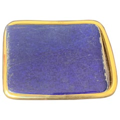 Large Lapis Lazuli Paperweight in 22-Karat Gold Setting