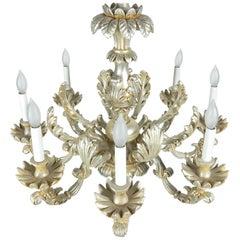 1950s Italian Baroque Silverleaf Chandelier
