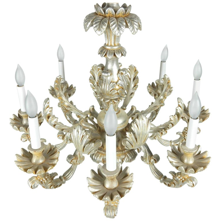 1950s Italian Baroque Silverleaf Chandelier For Sale
