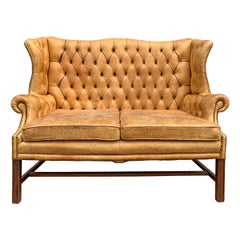 20th Century English Chippendale Style Wingback Settee