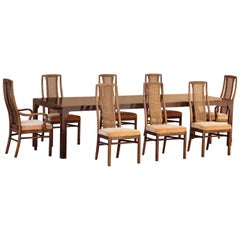 1960s Double-Leaf Dining Table with Eight Chairs by Drexel