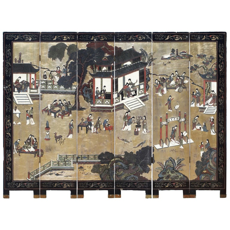 Six Panel Coromandel Chinese Dressing Screen / Room Divider For Sale