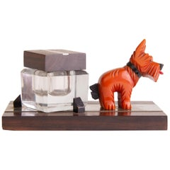 French Art Deco Ink Well with Amber Phenolic Scottie Dog