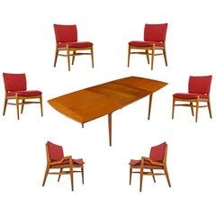 John Keal for Brown-Saltman Mahogany Extendable Dining Table and Six Chair Set