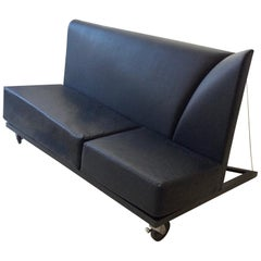 Pallucco and Rivier Asymmetric Leather Sofa, circa 1980, Italy