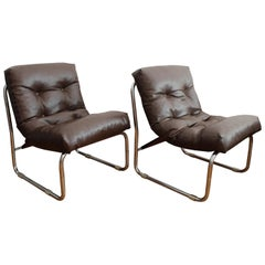 Pair of 1970s Neomodernist Tubular Leather Armchairs