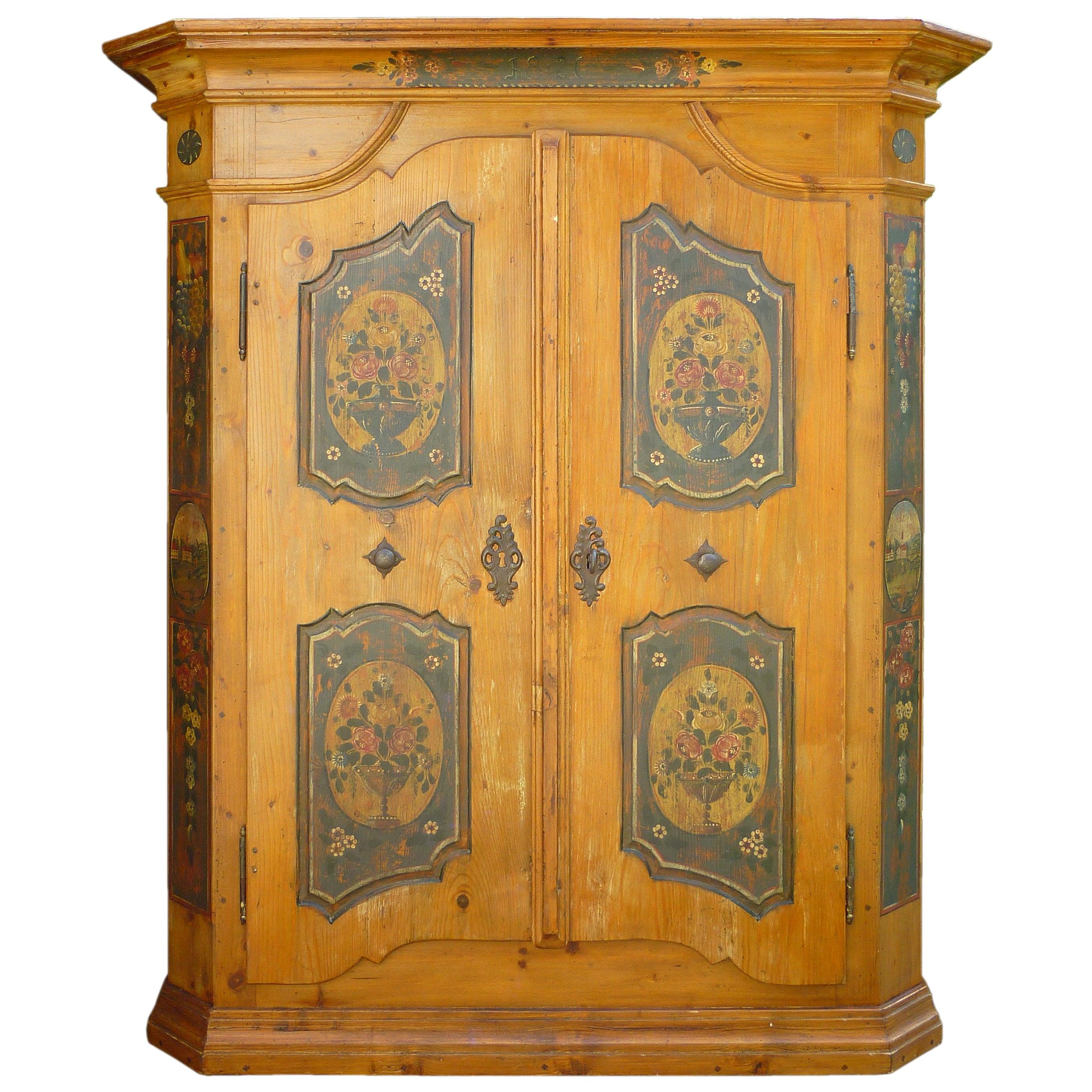 19th Century Antique folk painted cabinet, 1826