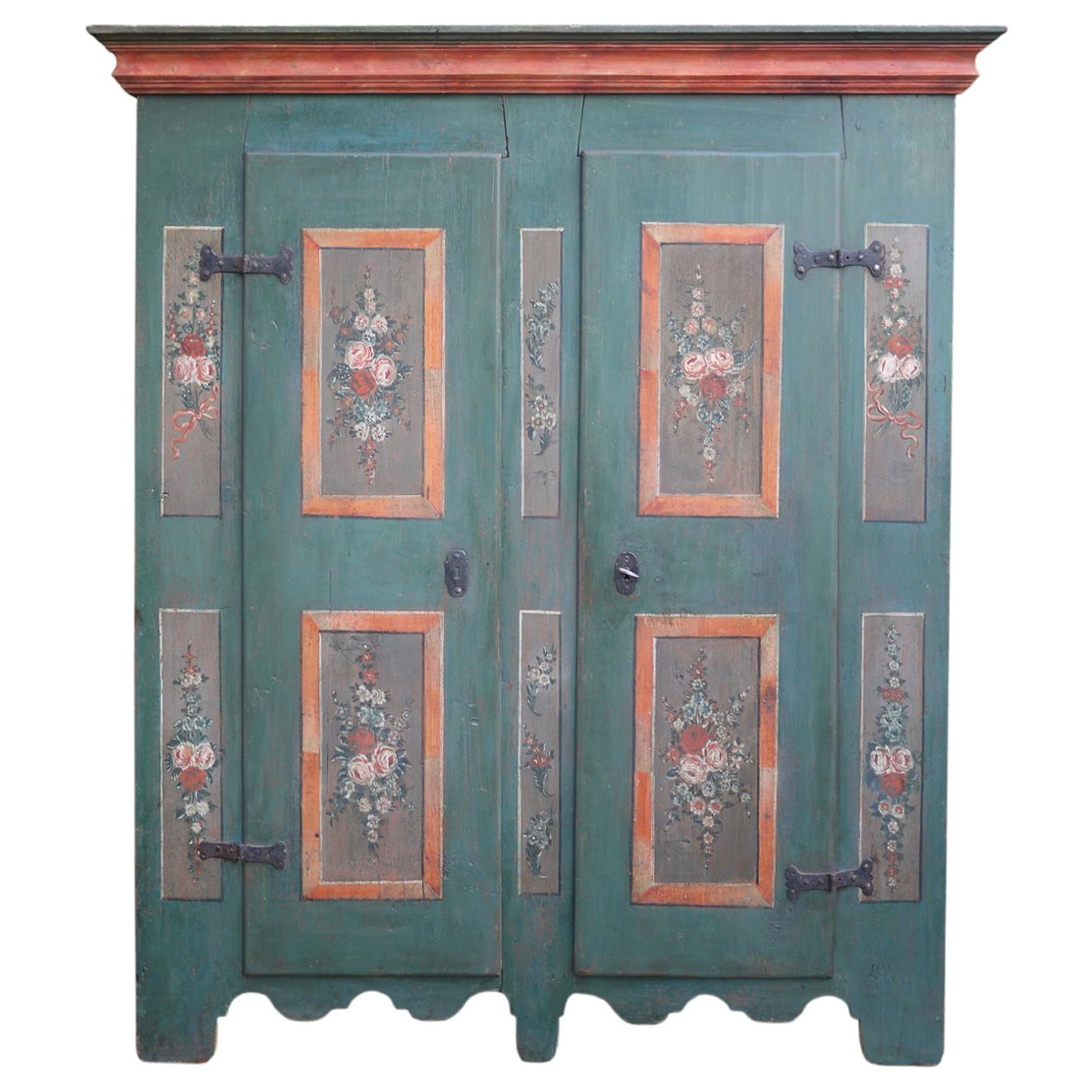 Early 19th Century Antique Floral Hand Painted Two Doors Wardrobe