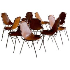Les Arcs Dining Chairs Leather Set of Ten, 1970s