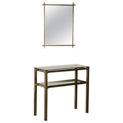Console Table with Mirror Brass Glass Vintage, Italy, 1970s