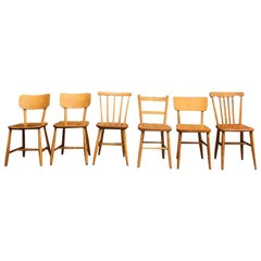 Set of 6 Midcentury Swedish Beech Wood Dining Chairs