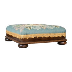 Square Antique Footstool, English, Victorian, Needlepoint, Carriage, circa 1890