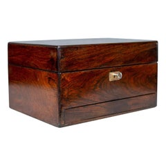 Antique Vanity Box, English, Victorian, Travelling Case, Rosewood, circa 1850