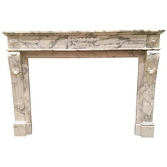 Antique Areabescato White and Grey Marble Mantle Piece