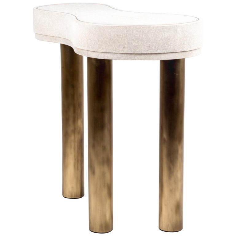 Constellation Side Table in Cream Shagreen and Bronze-Patina Brass by Kifu Paris For Sale