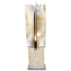 Rare Goffredo Reggiani Travertine Table Lamp, Italy, 1960s
