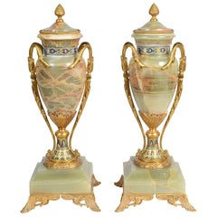 Pair French Onyx and Enamel Urns, circa 1890