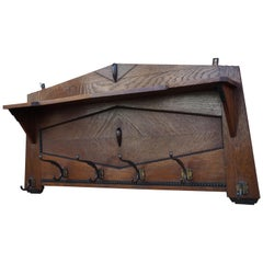 Beautiful & Practical Dutch Arts & Crafts Oak and Cast Iron Hooks Wall Coat Rack