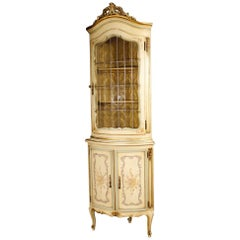 20th Century Lacquered, Gilt and Painted Wood Venetian Corner Cupboard, 1960