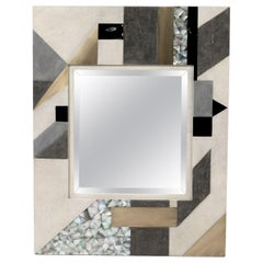 Geometric Mirror in Shagreen, Shell and Bronze-Patina Brass by Kifu Paris