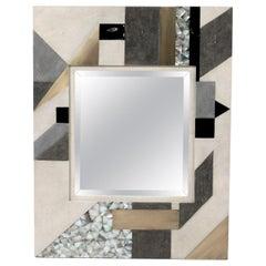 Geometric Mirror in Shagreen, Shell and Bronze-Patina Brass by Kifu Paris