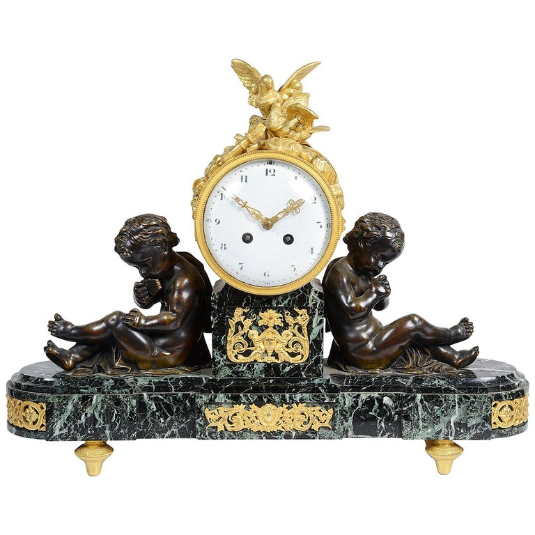 Louis XVI Style Marble and Ormolu Mantel Clock, 19th Century For Sale