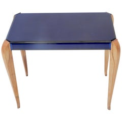 French Art Deco Blue Glass Side Table with Wood Legs