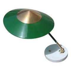 Stilux Milano Green Gold Brass Round Marble Midcentury Italian Table Lamp, 1950