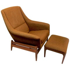 Platform Rocking Lounge Chair and Ottoman by Hjelle