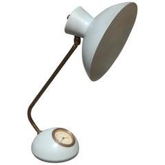 Midcentury Table Lamp with Brass and Lacquered Metal Clock Gold