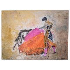 20th Century Expresionist Orange Pink Oiloncanvas Bullfighter, 1990, Signed