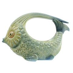 Spanish 1970s Lladró Green and Blue Porcelain Fish Figure Centrepiece / Planter