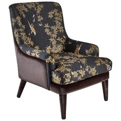 Beautiful Armchair Frame in Solid Timber and Plywood Fabric Upholstered Legs